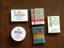5 Different Vintage Condom Packages, Mostly Full & Old, Original, NOS