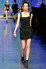 DOLCE AND GABBANA BLACK LACE TASSEL DRESS IT 40 UK 8