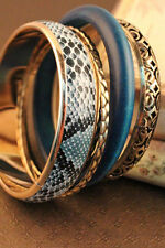 Turquoise Snake Skin Gold Metal Wood Set of 5 Bangles Bracelets Jewelry 0863