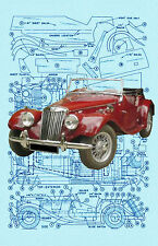 "Build a 1:16 Scale MODEL Car MG TF  SPORTS CAR  Length 10"" F/S Printed Plans"