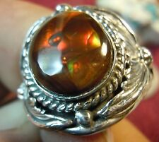 New Mens Fire Agate Sterling Silver Ring by Navajo P. Yazzie Size 10
