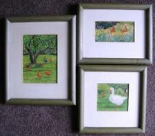 Linda Benton watercolours x 3 chickens and a goose all signed and ready to hang
