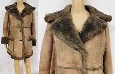 Vintage 70s Coat Jacket Suede Hippie Boho Gypsy Genuine Shearling Heavy