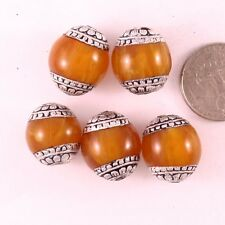 Wholesale Tibetan 5 Big 20X18mm Beeswax Amber 925 Sterling Silver Repousse Beads