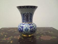Republic period Chinese enamel cloisonne vase spittoon bat shou dragon ruyi blue