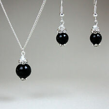 Black pearl crystal pendant necklace drop earrings wedding gift party silver set
