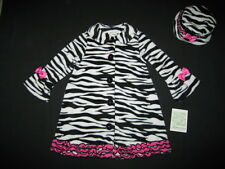 "NEW ""ZEBRA Pink Ruffle"" Coat Jacket & Hat Girls 4 Fall Winter Clothes Kids Set"