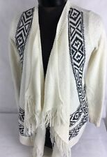 Hollister Fringe Cardigan Blanket Sweater Wrap White Juniors Women Sz L Casual