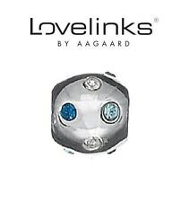 Genuine LOVELINKS 925 sterling silver clear & blue crystali ball charm bead