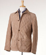 NWT $8950 KITON Diamond Quilted Lambskin Suede Leather Jacket 50/40 (M)