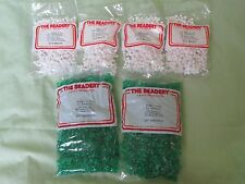 Lot of 6 Bags Tri-Beads by The Beadery - 007 Emerald Green & 073 White 11mm Bead