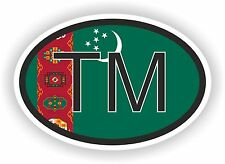Turkmenistan COUNTRY CODE OVAL WITH FLAG STICKER bumper decal car bike tablet