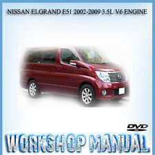 NISSAN ELGRAND E51 2002-2009 3.5L V6 ENGINE REPAIR SERVICE MANUAL IN DISC