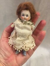 Antique Bisque Miniature Doll Germany Wire Jointed Painted Shoes Lace Dress 4.5""