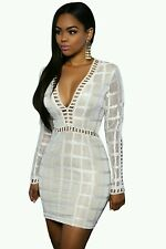 Celeb White Square Mesh Grid V Neck Bodycon Midi Dress Party Size 8 Boutique