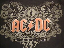 AC/DC ACDC Black Ice Classic Rock Heavy Metal Music Album Souvenir T Shirt XL
