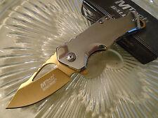 Mtech Ballistic Assisted Gold Chrome Shuffler Pocket Knife Cap Lifter 882SGD New