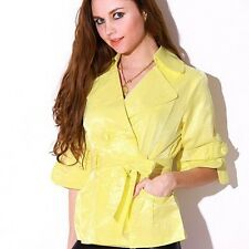 Yellow double-breasted cropped trench by Neslay Size S