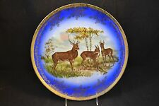 Unknown Maker Flow Blue Stag Gold Trim Scalloped Edge Beaded Trim