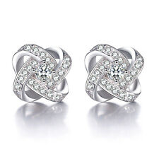 Solid 925 Silver Austria Crystal Ear Stud Earrings fashion jewelry Xmas gift