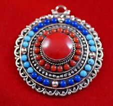 Sterling silver Pendant Turquoise Coral Lapis  Asian Handmade Antique Jewelry