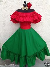 MEXICAN FIESTA,5 DE MAYO,WEDDING RED/RED DRESS OFF SHOULDER 2PC W/SMALL SASH
