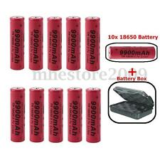 10x 9900mAh 18650 Li-ion 3.7V Rechargeable Battery LED Flashlight Torch With Box