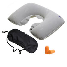 INFLATABLE TRAVEL PILLOW HEAD NECK REST CUSHION CAMPING AEROPLANE EAR PLUG GRAY