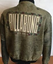 Billabong Leather Jacket Vintage Surfer Moto Retro Embroidered Men Sz M RARE