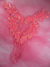 """0510 Hot Pink AB Bodice Yoke Sequin Beaded Applique Sewing Patch Motif  10"""""""