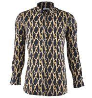 MOSCHINO Schere Hemd Schwarz Gold Scissors Shirt Black Chemise Noir Or 03065