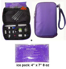 Diabetic Organizer Cooler Bag- for insulin & supply kits,w/ 2x ice pack -Purple