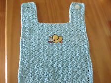 HAND CROCHETED BABY BIB WITH DUCK AND SAILBOAT APPLIQUE - BABY SHOWER GIFT
