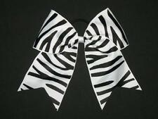 "NEW ""BLACK ZEBRA"" Cheer Bow Pony Tail 3"" Ribbon Girls Hair Bows Cheerleading"