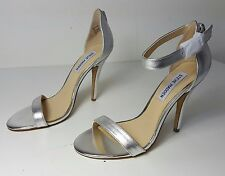 $89 size 7 Steve Madden Realove Silver Leather Heel Ankle Strap Womens Sandals