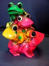 1960's Napcoware Psychedelic Stacked Frogs Bank DayGlo Groovy Hippie