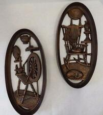 2 VINTAGE HOME INTERIOR BURWOOD PROD BRONZE PLAQUES SPINNING WHEEL ROCKING CHAIR