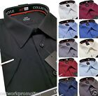 Men's BIG Sizes Plain Cotton Shirt Classic Collar Short Sleeve Formal Casual NEW