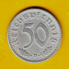 Third Reich Coin 50 Pfennig Reichspfennig 1943 D w/ Swastika Great Condition !!