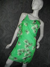 AMAZING NEW + TAGS * MAX STUDIO *  SILK COTTON FLOATY GREEN DRESS SIZE L 12 - 14