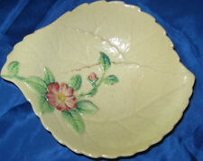 CLASSIC CARLTON WARE PINK BRIAR ROSE BUTTER PAT DISH - YELLOW BACKGROUND