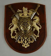 Superb Wooden and Metal 2 Sword Mounted Wall Plaque. Letter Openers. Christmas