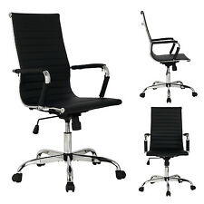 New Black Modern Ergonomic Ribbed High Back Executive PU Leather Office Chair