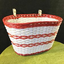 Vtg Schwinn BICYCLE BASKET Pink~White Woven Plastic Front Handle Leather Straps