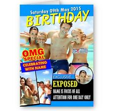 Personalised Photo. Name & Any Age OMG Special Magazine Theme A5 Birthday Card.