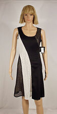 Nine West Size 12 Black White Crochet Colorblock Sleeveless A-Line Dress NEW $98