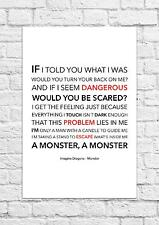Imagine Dragons - Monster - Song Lyric Art Poster - A4 Size