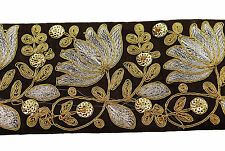 Fabric Trim Crafting Sewing Metallic Embroidered 8.89 Cm Wd Sari Border By 1 Yd