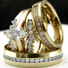 New 4 pcs gold plated cz engagement wedding womans bridal mans band ring set