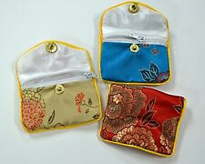 "Silk Jewelry Chinese Pouch Bag Roll Assorted TEN DOZEN Zipper - 2 1/2"" x 2"""